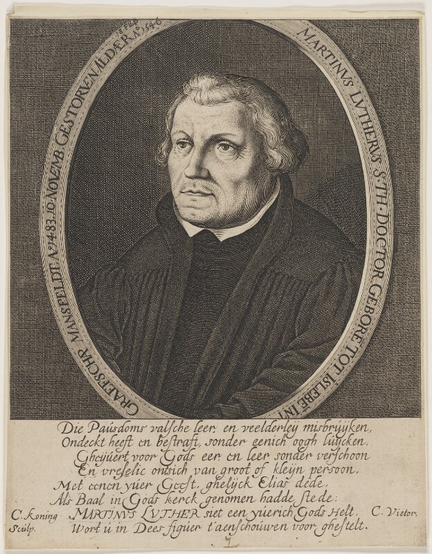 Martin Luther, by Cornelis Coninck (Koning), after  Lucas Cranach the Elder, mid 17th century - NPG D47380 - © National Portrait Gallery, London