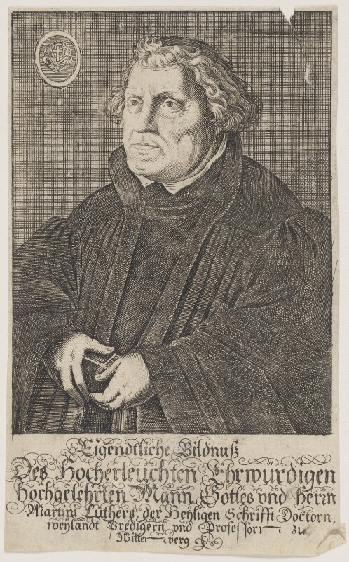Martin Luther, probably after Lucas Cranach the Elder, circa 1600-1650 - NPG D47381 - © National Portrait Gallery, London