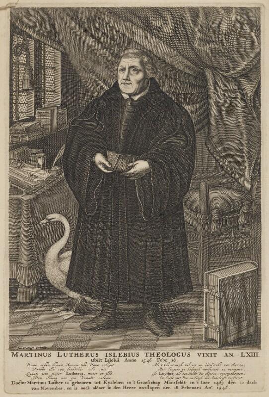 Martin Luther, published by Jan Cralinge (Craalinge, Kraalinge), after  François Stuerhelt, circa 1650-1700 - NPG D47386 - © National Portrait Gallery, London