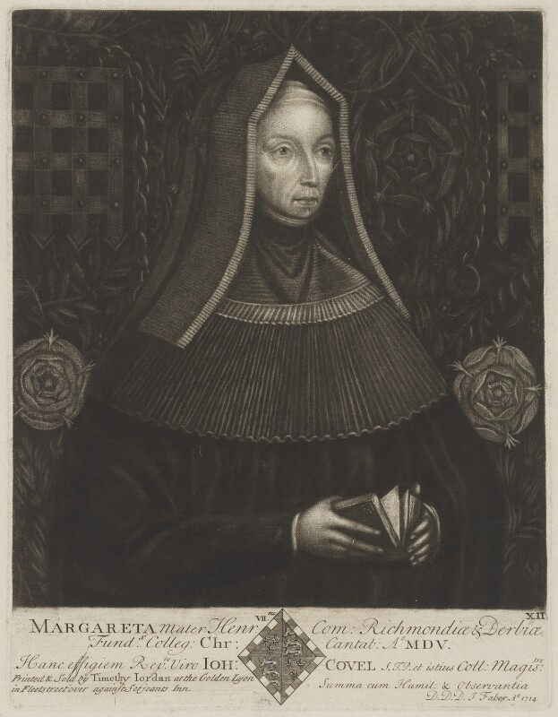 Lady Margaret Beaufort, Countess of Richmond and Derby, by John Faber Sr, printed and published by  Timothy Jordan, after  Unknown artist, 1714 - NPG D47403 - © National Portrait Gallery, London