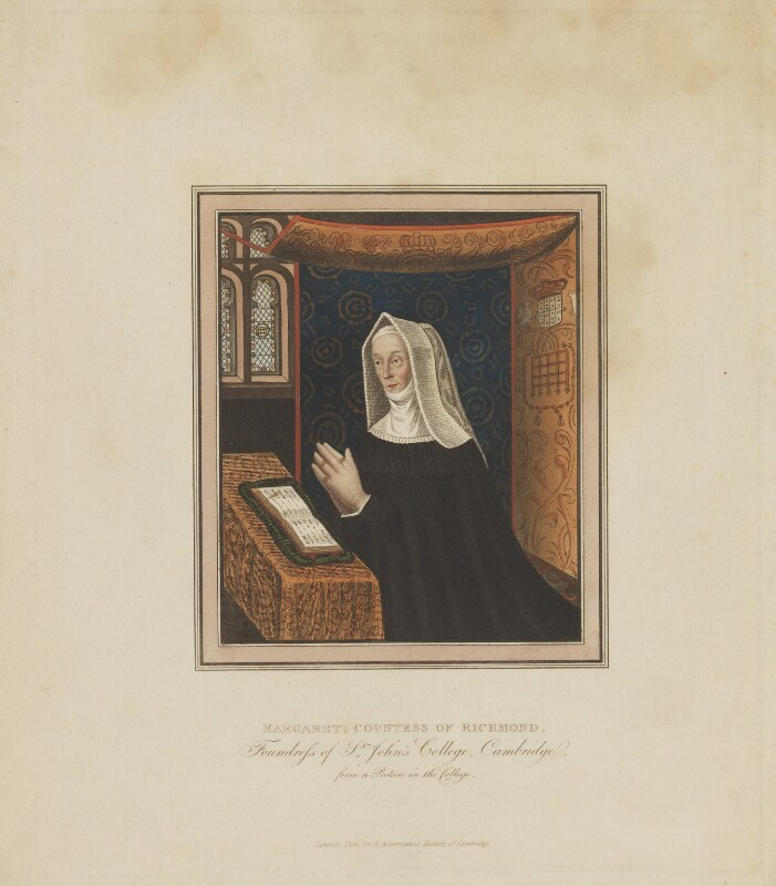 Lady Margaret Beaufort, Countess of Richmond and Derby, published by Rudolph Ackermann, after  Unknown artist, circa 1815 - NPG D47406 - © National Portrait Gallery, London