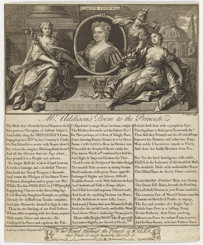 Caroline Wilhelmina of Brandenburg-Ansbach when Princess of Wales, by and published by John Clark, after  Sir Godfrey Kneller, Bt, circa 1714-1727 - NPG D47410 - © National Portrait Gallery, London