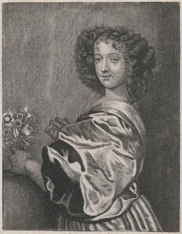 Nell Gwyn (Margaret Lemon with the head altered to Nell Gwyn), by Richard Gaywood, after  Sir Anthony van Dyck, and head after  Gerard Valck, after  Sir Peter Lely, circa 1662; head late 17th century - NPG D47402 - © National Portrait Gallery, London