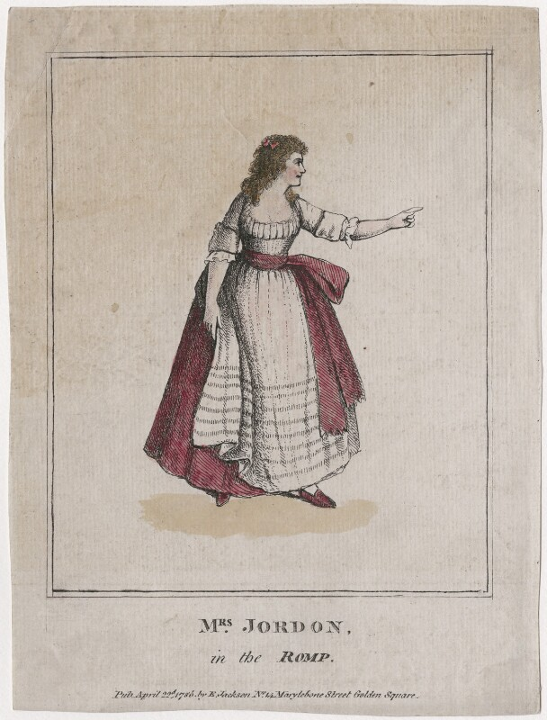 Dorothy Jordan as Priscilla Tomboy in 'The Romp', published by Elizabeth Jackson, after  Unknown artist, published 22 April 1786 - NPG D47415 - © National Portrait Gallery, London