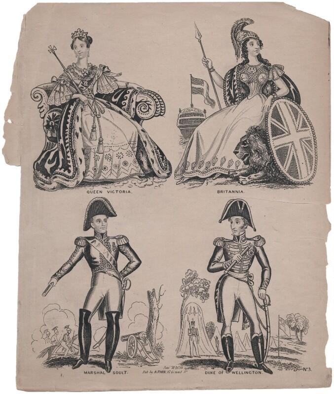 Queen Victoria; Britannia; Nicolas Jean-de-Dieu Soult; Arthur Wellesley, 1st Duke of Wellington, published by Archibald Alexander Park, published 21 January 1839 - NPG D47434 - © National Portrait Gallery, London