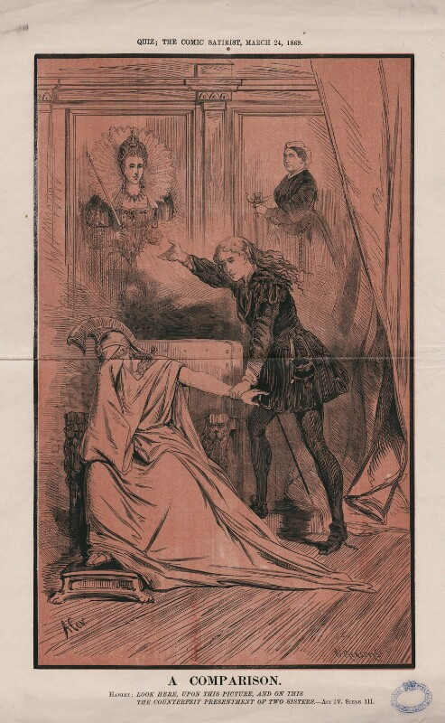 'A Comparison' (Queen Elizabeth I; Queen Victoria; Britannia; Ellen Terry as Hamlet), by William Frederick Measom, published 24 March 1869 - NPG D47435 - © National Portrait Gallery, London