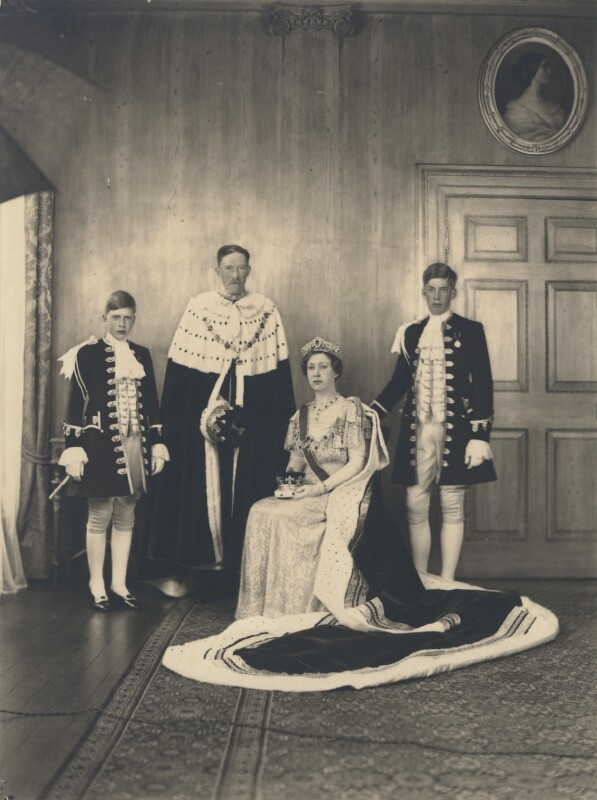 Hon. Gerald David Lascelles; Henry George Charles Lascelles, 6th Earl of Harewood; Princess Mary, Countess of Harewood; George Lascelles, 7th Earl of Harewood, by Speaight Ltd, 12 May 1937 - NPG x199617 - © National Portrait Gallery, London