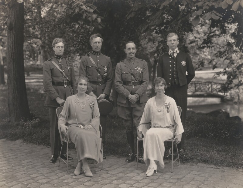 Leopold III, King of the Belgians; Victoria Eugenie ('Ena') of Battenberg, Queen of Spain; Albert I, King of the Belgians; Alfonso XIII, King of Spain; Elisabeth of Bavaria, Queen of Belgium; Prince Charles of Belgium, Count of Flanders, by Speaight Ltd, 1923 - NPG x199625 - © National Portrait Gallery, London