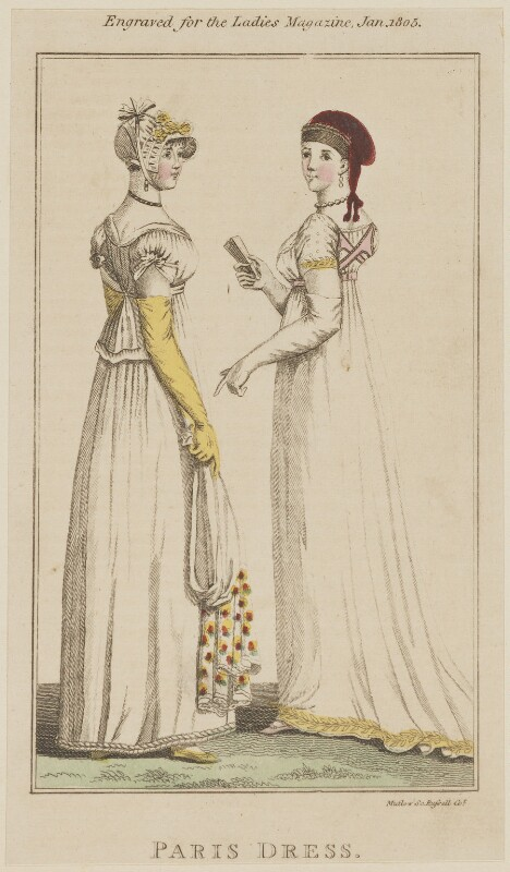 'Paris Dress', January 1805, by Henry Mutlow, published in  The Lady's Magazine, published January 1805 - NPG D47492 - © National Portrait Gallery, London