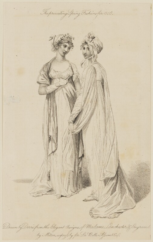 'The prevailing Spring Fashions for 1806...the Elegant designs of Madame Lanchester', by James Mitan, after  Arthur William Devis, published by  John Bell, published for  La Belle Assemblée or Bell's Court and Fashionable Magazine, published June 1806 - NPG D47494 - © National Portrait Gallery, London