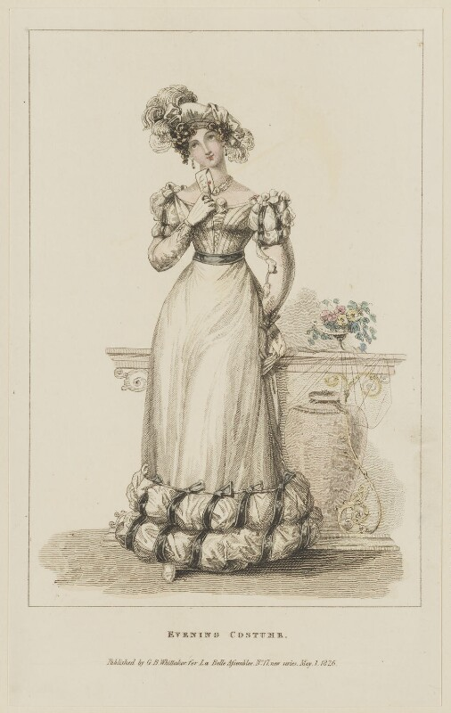 'Evening Costume', May 1826, probably by William Read, published by  George Byrom Whittaker, published in  La Belle Assemblée or Bell's Court and Fashionable Magazine, published 1 May 1826 - NPG D47579 - © National Portrait Gallery, London