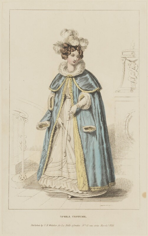 'Opera Costume', March 1826, probably by William Read, published by  George Byrom Whittaker, published in  La Belle Assemblée or Bell's Court and Fashionable Magazine, published 1 March 1826 - NPG D47580 - © National Portrait Gallery, London