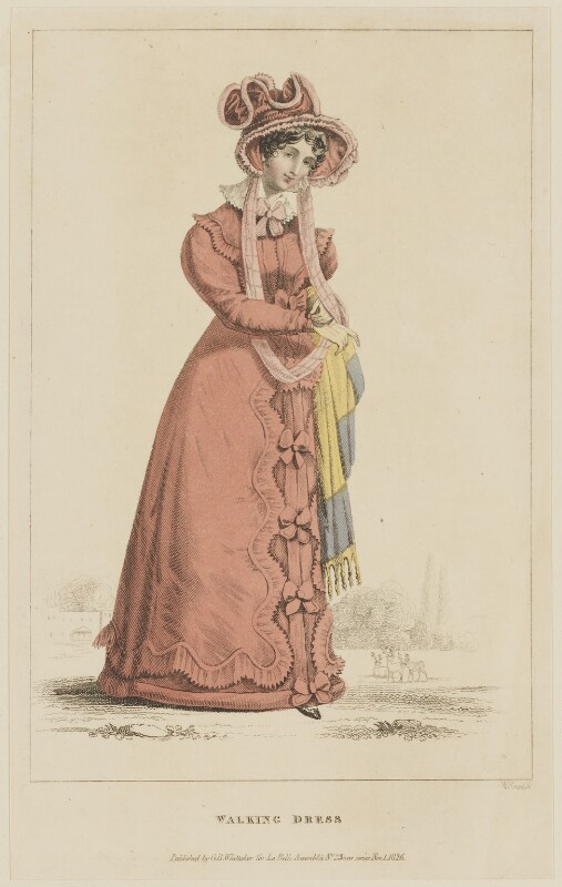 'Walking Dress', November 1826, by William Read, published by  George Byrom Whittaker, published in  La Belle Assemblée or Bell's Court and Fashionable Magazine, published 1 November 1826 - NPG D47582 - © National Portrait Gallery, London