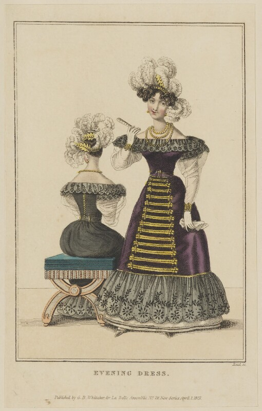 'Evening Dress', April 1827, by William Read, published by  George Byrom Whittaker, published in  La Belle Assemblée or Bell's Court and Fashionable Magazine, published 1 April 1827 - NPG D47595 - © National Portrait Gallery, London