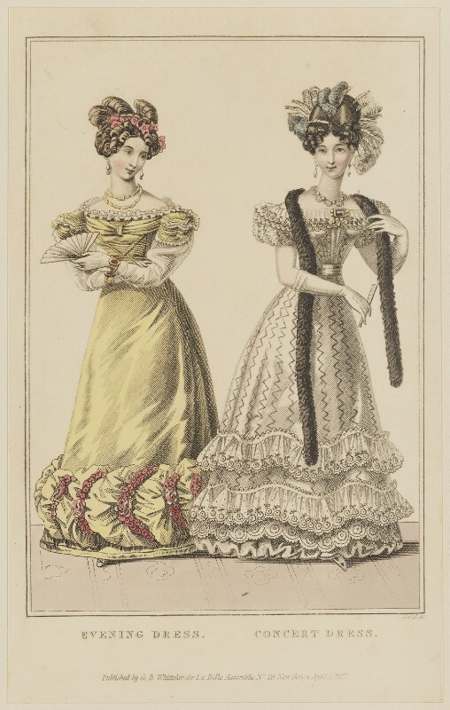 'Evening Dress. Concert Dress', April 1827, by William Read, published by  George Byrom Whittaker, published in  La Belle Assemblée or Bell's Court and Fashionable Magazine, published 1 April 1827 - NPG D47602 - © National Portrait Gallery, London