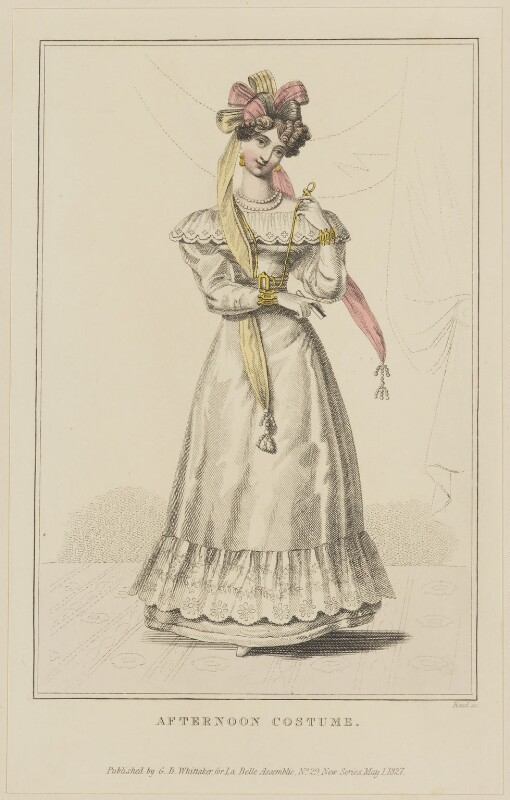 'Afternoon Costume', May 1827, by William Read, published by  George Byrom Whittaker, published in  La Belle Assemblée or Bell's Court and Fashionable Magazine, published 1 May 1827 - NPG D47596 - © National Portrait Gallery, London