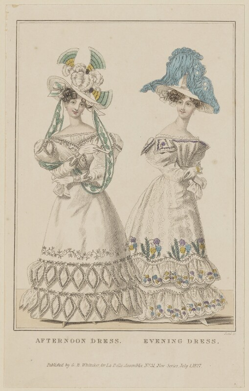 'Afternoon Dress. Evening Dress', July 1827, by William Read, published by  George Byrom Whittaker, published in  La Belle Assemblée or Bell's Court and Fashionable Magazine, published 1 July 1827 - NPG D47599 - © National Portrait Gallery, London
