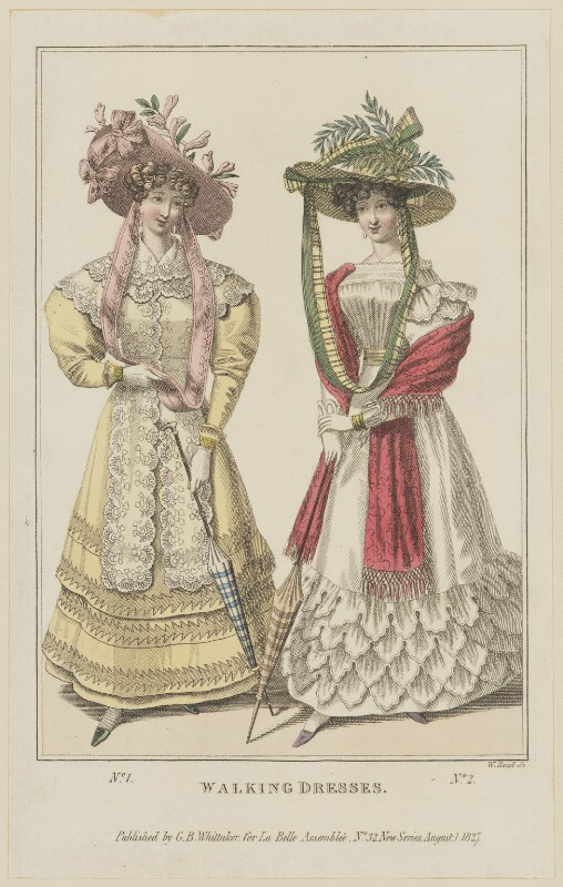 'Walking Dresses', August 1827, by William Read, published by  George Byrom Whittaker, published in  La Belle Assemblée or Bell's Court and Fashionable Magazine, published 1 August 1827 - NPG D47598 - © National Portrait Gallery, London