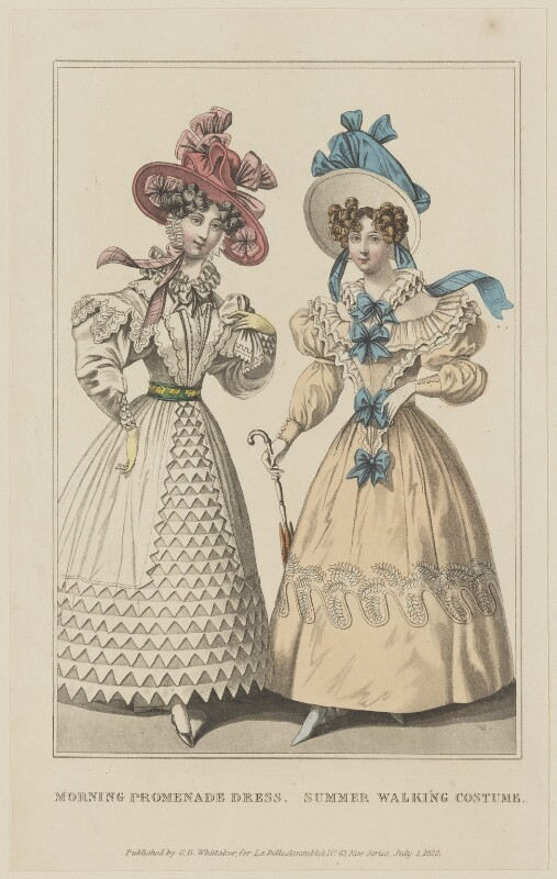 'Morning Promenade Dress. Summer Walking Costume', July 1828, probably by William Read, published by  George Byrom Whittaker, published in  La Belle Assemblée or Bell's Court and Fashionable Magazine, published 1 July 1828 - NPG D47623 - © National Portrait Gallery, London