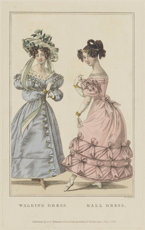 'Walking Dress. Ball Dress', June 1828, by William Read, published by  George Byrom Whittaker, published in  La Belle Assemblée or Bell's Court and Fashionable Magazine, published 1 June 1828 - NPG D47624 - © National Portrait Gallery, London