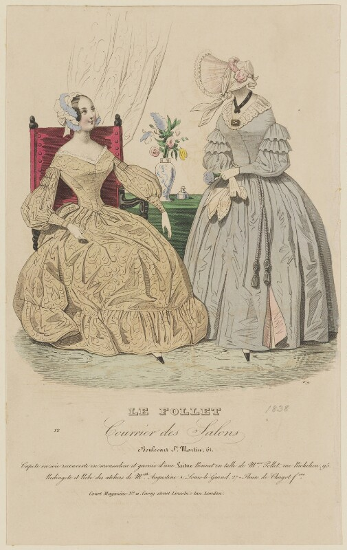 Dinner dress and walking dress, June 1838, published by Dobbs & Co, published in  The Court Magazine and Monthly Critic and Lady's Magazine and Museum, published June 1838 - NPG D47735 - © National Portrait Gallery, London