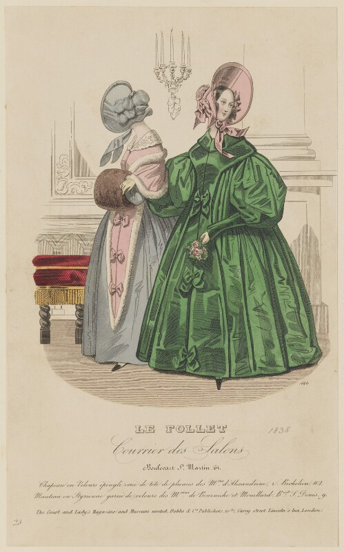 Walking dress, January 1838, published by Dobbs & Co, published in  The Court Magazine and Monthly Critic and Lady's Magazine and Museum, published January 1838 - NPG D47736 - © National Portrait Gallery, London