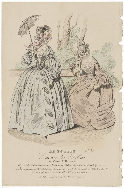Walking or carriage costume, September 1839, published by Dobbs & Co, published in  The Court Magazine and Monthly Critic and Lady's Magazine and Museum, published September 1839 - NPG D47764 - © National Portrait Gallery, London