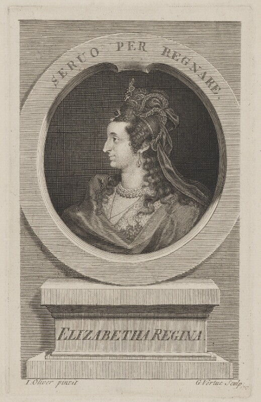 Anne of Denmark engraved as Queen Elizabeth I, by George Vertue, after  Isaac Oliver, 1717 (circa 1610) - NPG D48099 - © National Portrait Gallery, London
