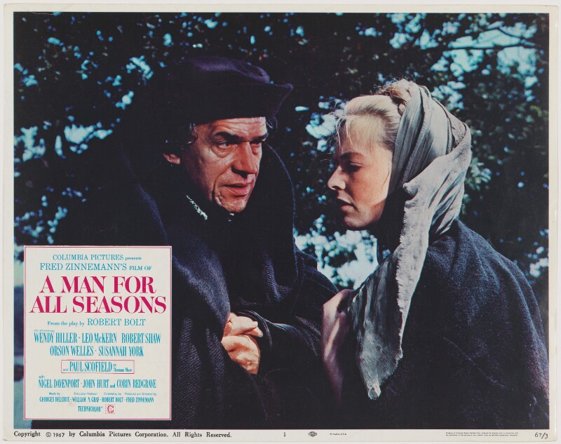 A Man for All Seasons lobby card 1 (Paul Schofield as Sir Thomas More; Susannah York as Margaret Roper), published by Columbia Pictures Corporation, published 1967 - NPG D48102 - Photo: © National Portrait Gallery, London