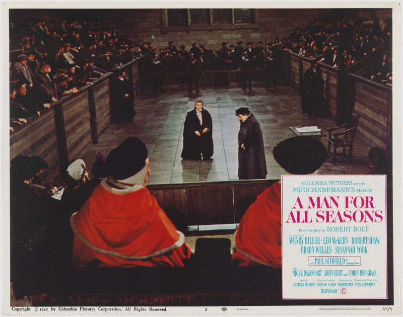 A Man for All Seasons lobby card 2 (Paul Schofield as Sir Thomas More; Leo McKern as Thomas Cromwell, Earl of Essex), published by Columbia Pictures Corporation, published 1967 - NPG D48103 - Photo: © National Portrait Gallery, London