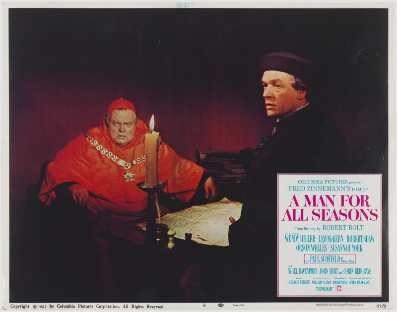 A Man for All Seasons lobby card 6 (Orson Welles as Thomas Wolsey; Paul Schofield as Sir Thomas More), published by Columbia Pictures Corporation, published 1967 - NPG D48107 - Photo: © National Portrait Gallery, London