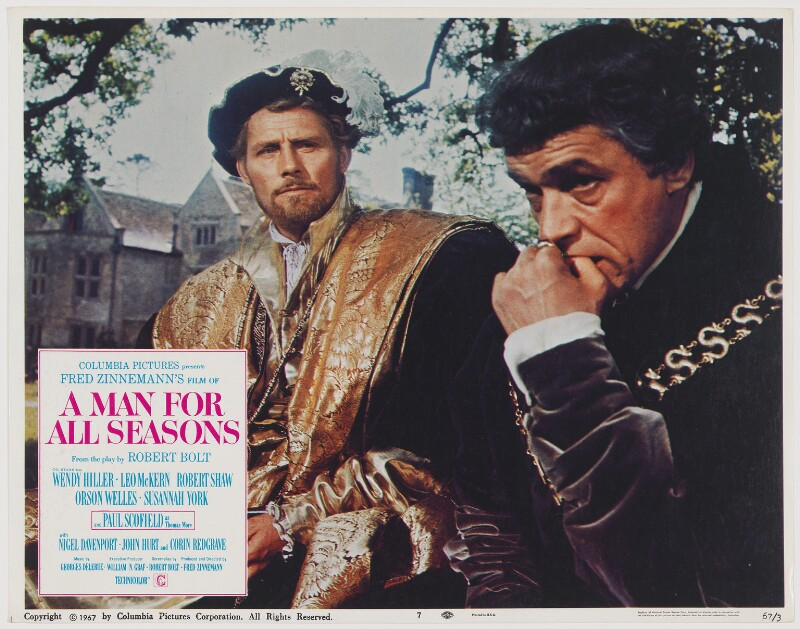 A Man for All Seasons lobby card 7 (Robert Shaw as King Henry VIII; Paul Schofield as Sir Thomas More), published by Columbia Pictures Corporation, published 1967 - NPG D48108 - Photo: © National Portrait Gallery, London