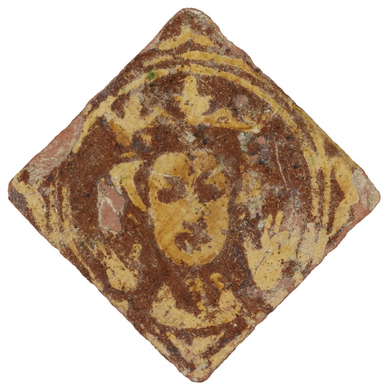 Unknown sitter ('Floor tile with an image of a king or queen'), by Unknown artist, 14th century - NPG D48194 - © National Portrait Gallery, London