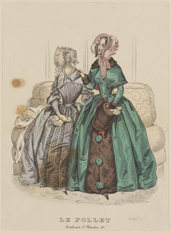 Walking and carriage or visiting costume, December 1841, published by Dobbs & Co, published in  The Court Magazine and Monthly Critic and Lady's Magazine and Museum, first published in  Le Follet, Courrier des Salons, Journal des Modes, published December 1841 - NPG D47888 - © National Portrait Gallery, London