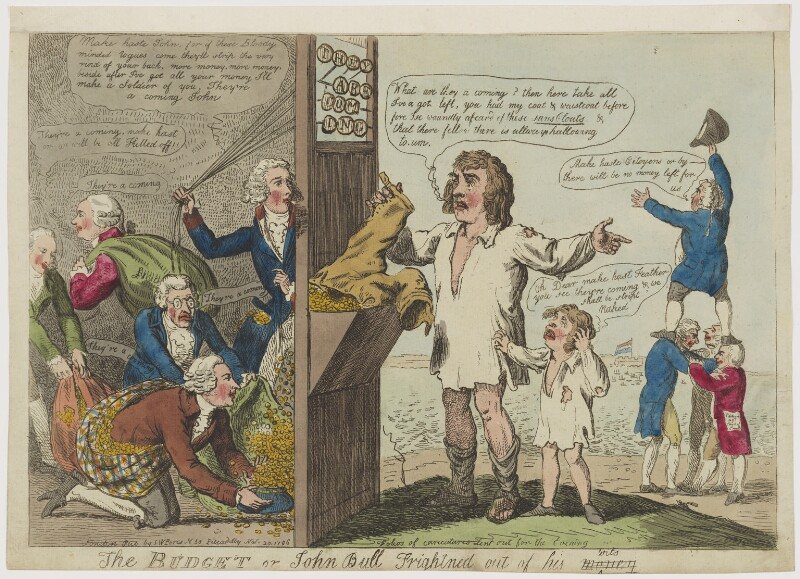 The Budget or John Bull Frightned [Frightened] out of his wits, by Isaac Cruikshank, published by  Samuel William Fores, published 20 November 1796 - NPG D47470 - © National Portrait Gallery, london