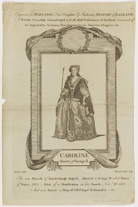 Caroline Wilhelmina of Brandenburg-Ansbach, by Shirwin & Lodge, after  Hamilton, after  John Vanderbank, circa 1782 - NPG D48208 - © National Portrait Gallery, London