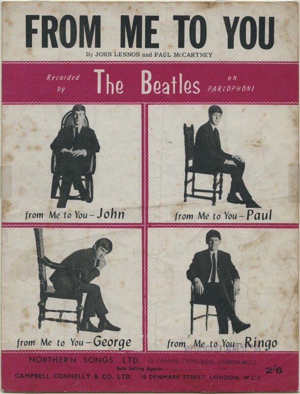 Sheet music cover for 'From Me to You' by The Beatles (John Lennon; Paul McCartney; George Harrison; Ringo Starr), published by Northern Songs Ltd, after  Astrid Kirchherr, published 1963 (1962) - NPG D48342 - © reserved; collection National Portrait Gallery, London