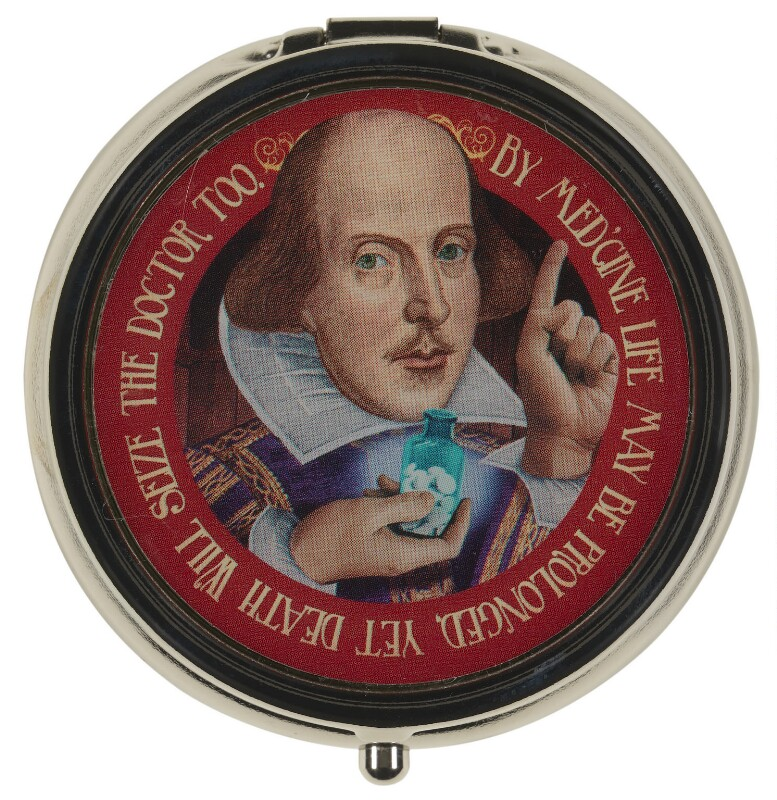 William Shakespeare ('Shakespeare Pill Box'), by Unknown artist, 2018 - NPG D48053 - Art Fund Popular Portraits Collection. Photo: © National Portrait Gallery, London