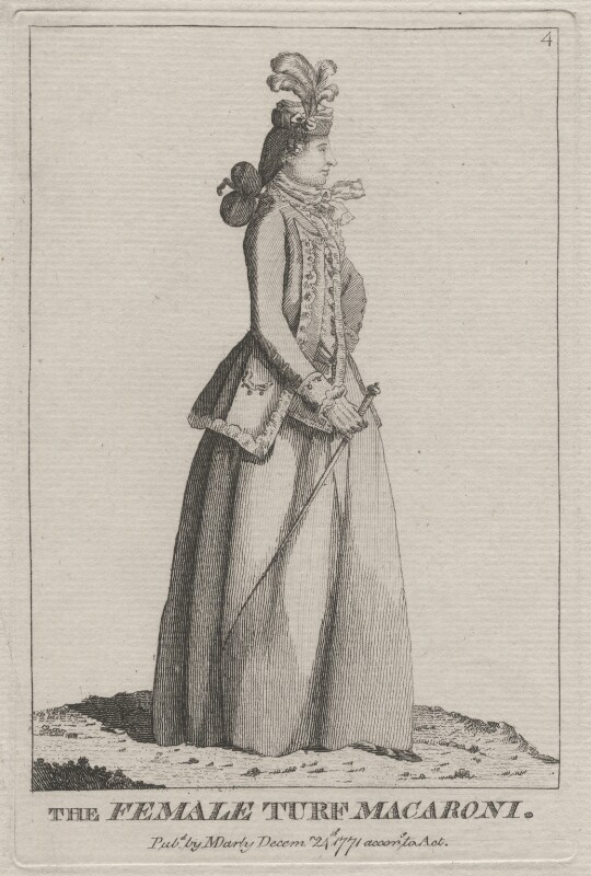 probably Elizabeth (née Wrottesley), Duchess of Grafton ('The Female Turf Macaroni'), published by Mary Darly, published 24 December 1771 - NPG D48068 - © National Portrait Gallery, London