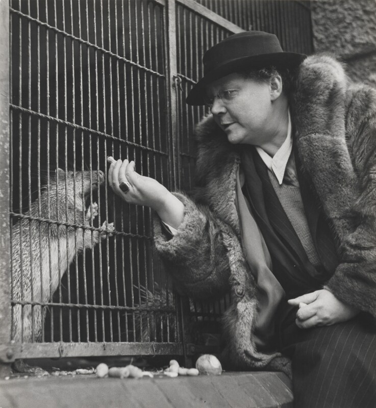 Dorothy Sayers and adopted porcupine, by Wolfgang Suschitzky, circa 1944 - NPG x200760 - © the estate of W.Suschitzky