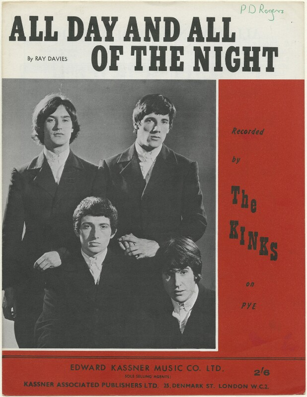 Sheet music cover for 'All Day and All of the Night' by The Kinks (Dave Davies; Pete Quaife; Mick Avory; Ray Davies), published by Edward Kassner Music Company Limited, after  Unknown photographer, 1964 - NPG D48448 -