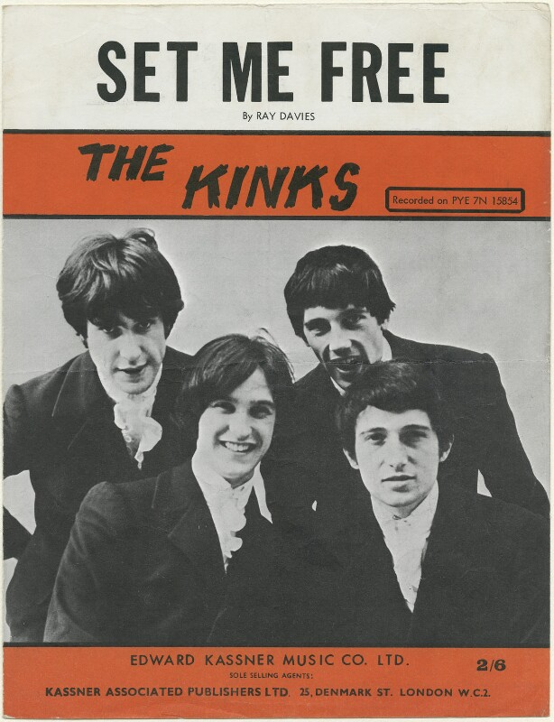 Sheet music cover for 'Set Me Free' by The Kinks (Ray Davies; Dave Davies; Mick Avory; Pete Quaife), published by Edward Kassner Music Company Limited, after  Unknown photographer, published 1965 - NPG D48449 - © reserved; National Portrait Gallery, London