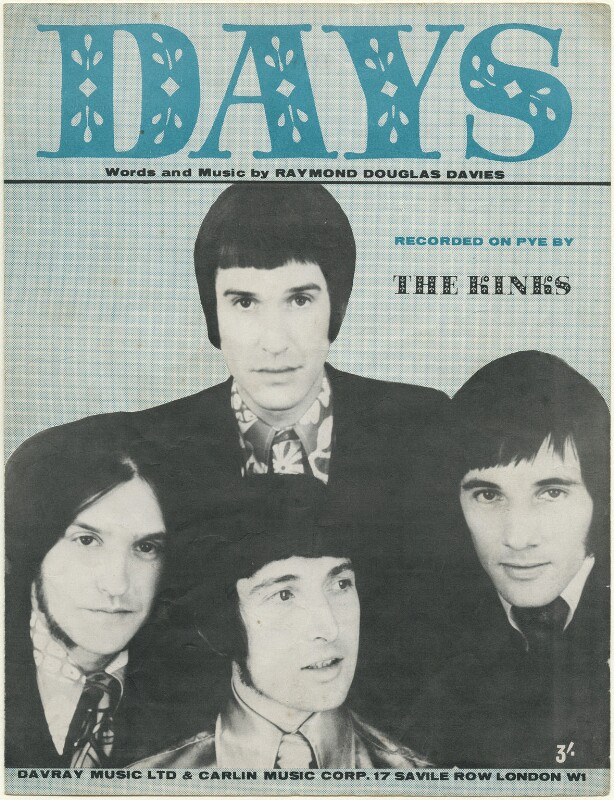 Sheet music cover for 'Days' by The Kinks (Ray Davies; Dave Davies; Pete Quaife; Mick Avory), published by Davray Music Limited, published by  Carlin Music Corporation, after  Unknown photographer, 1968 - NPG D48454 -