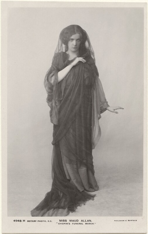Maud Allan dancing to 'Chopin's Funeral March', by Foulsham & Banfield, published by  Rotary Photographic Co Ltd, 1908 - NPG x198337 - © National Portrait Gallery, London