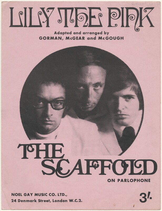 Sheet music cover for 'Lily the Pink' by The Scaffold (Roger McGough; John Gorman; Mike McGear), published by Noel Gay Music Ltd., after  Unknown photographer, published 1968 - NPG D48540 - Art Fund Popular Portraits Collection. Photo: © National Portrait Gallery, London