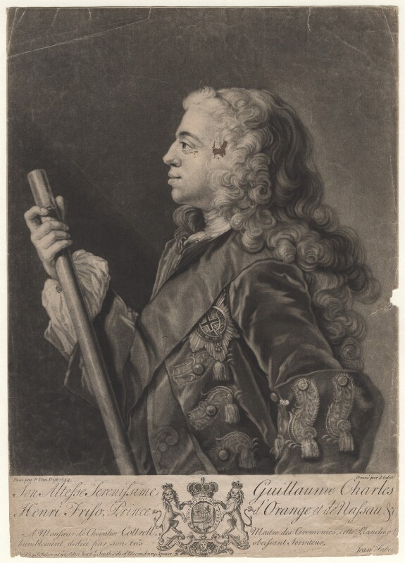 William Charles Henry Friso, Prince of Orange, by and sold by John Faber Jr, after  Philip van Dyk, (1734) - NPG D4976 - © National Portrait Gallery, London