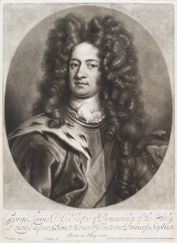 King George I when Elector of Hanover, by and published by John Smith, after  Johann Leonhard Hirschmann, 1706 - NPG D11633 - © National Portrait Gallery, London