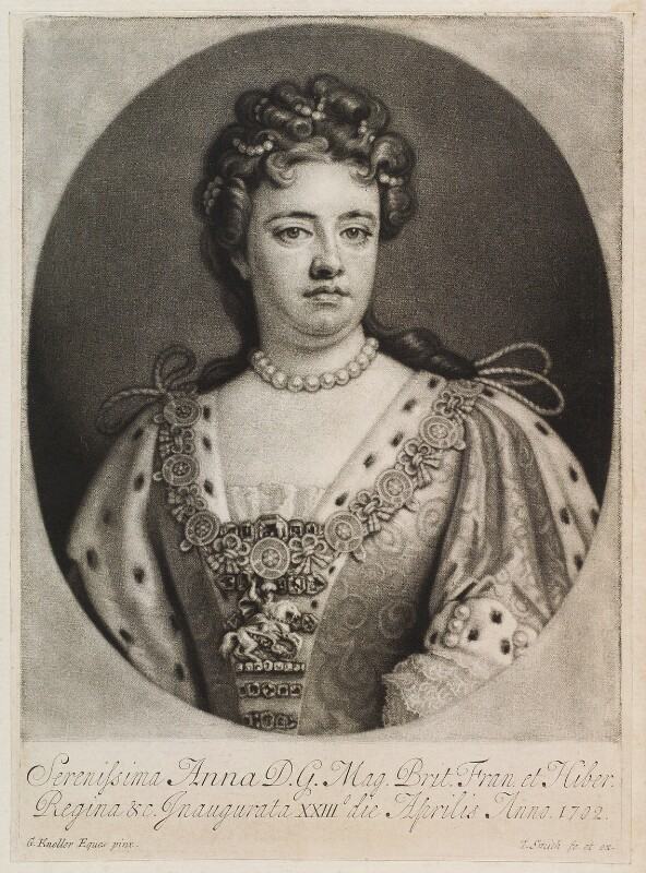 Queen Anne, by and published by John Smith, after  Sir Godfrey Kneller, Bt, 1715-1724 - NPG D11921 - © National Portrait Gallery, London