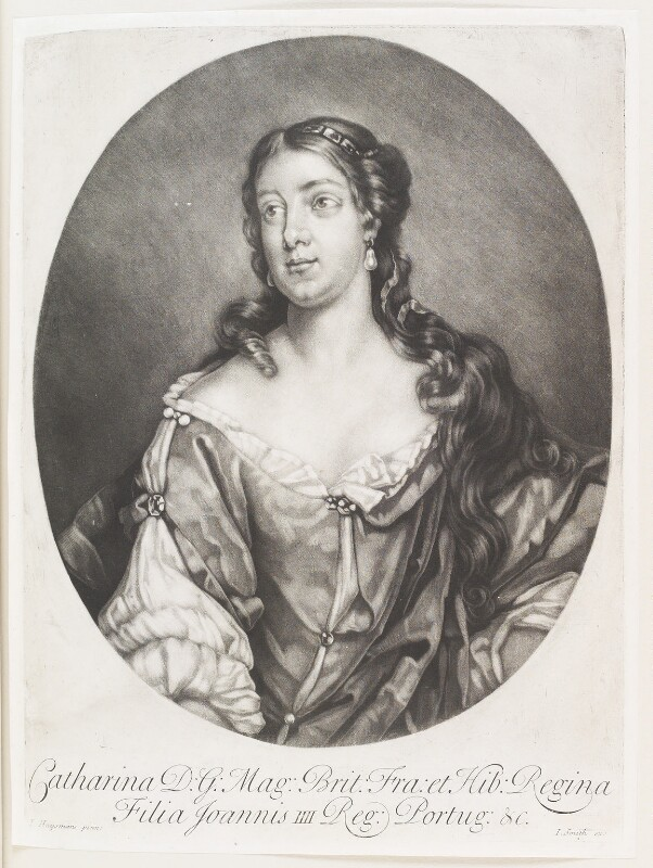 Catherine of Braganza, published by John Smith, after  Jacob Huysmans, circa 1683-1729 (circa 1664) - NPG D11520 - © National Portrait Gallery, London
