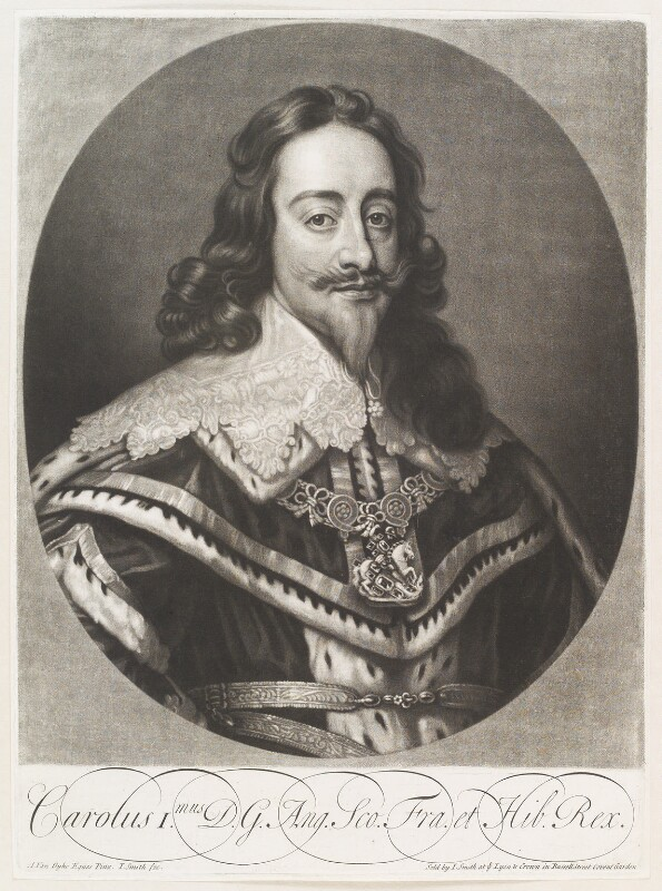 King Charles I, by and published by John Smith, after  Sir Anthony van Dyck, 1718 (1636) - NPG D11517 - © National Portrait Gallery, London